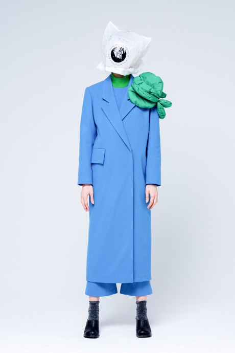 Blue coat with flower