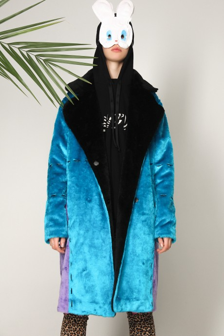 Blue eco-fur coat