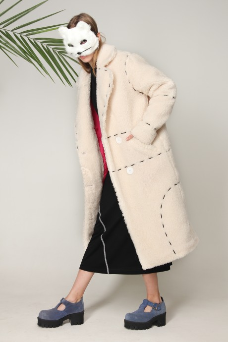 White eco-fur coat